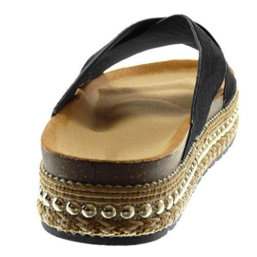 Angkorly Damen Schuhe Mule Sandalen - Slip-On - Plateauschuhe - Nieten - Besetzt - Gekreuzte Riemen - Seil Keilabsatz High Heel 4 cm Schwarz