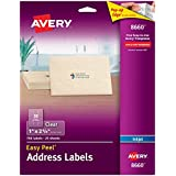 Avery Easy Peel Permanent-Adhesive Address Labels For Inkjet Printers, 1 x 2-5/8 Inches, Clear, Pack of 750
