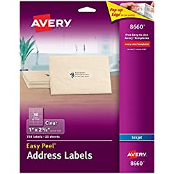 "Avery Matte Frosted Clear Address Labels for Inkjet Printers, 1"" x 2-5/8"", 750 Labels (8660)"