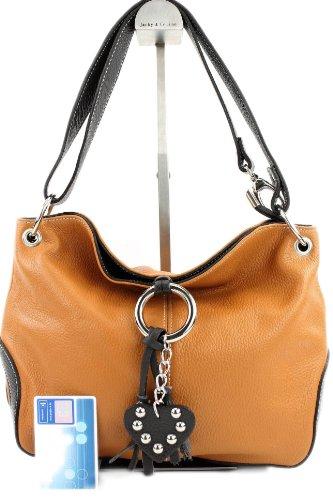 Modamoda deT10 - Bolso de piel italiana para mujer, tamaño mediano Camel/Dunkelbraun
