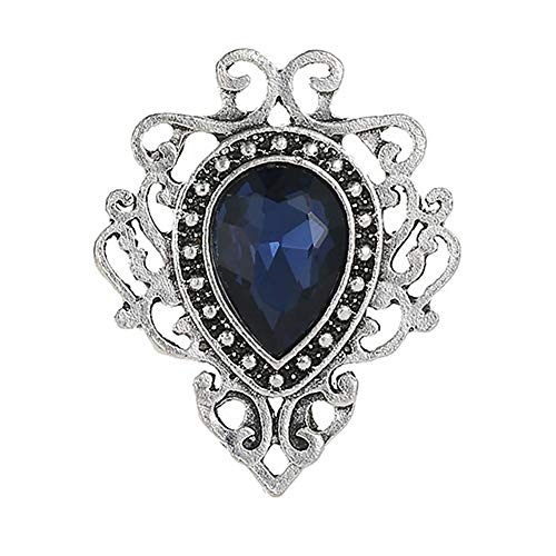 Alloet Vintage Women Costume Brooches Hollowed Gemstone Pin