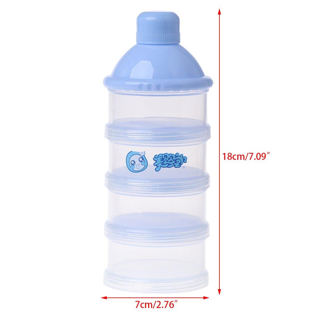 Cuigu 4 Schicht Milchpulver-Beh/älter,Tragbare Formel F/ür Die Aufbewahrung Von Lebensmitteln Versiegelt Blau