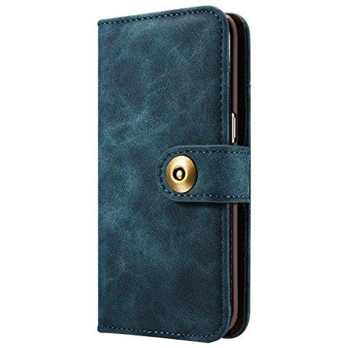 Phone Case Leder Hülle Brieftasche mit Kartenfächer Geldscheinfach Premium mit abnehmbaren Magnet Handy Schutzhülle