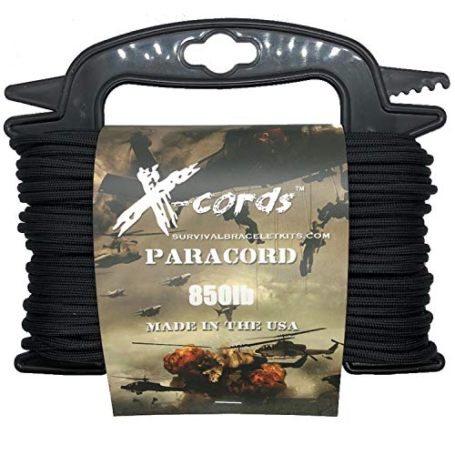 X-CORDS Paracord 850 Lb Stronger Than 550 and 750 Made by Us Government Certified Contractor (100' Black ON Spool) by X-CORDS (Image #1)