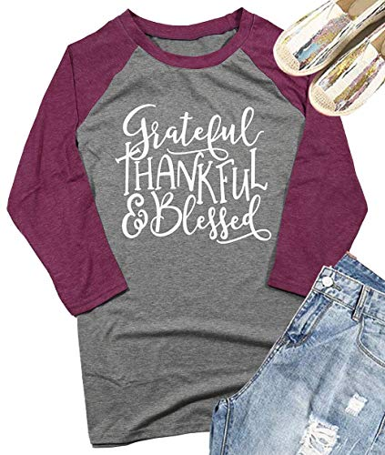 Be Kind Thanksgiving Shirt Women's Christian Teacher Funny Tops 3/4 Sleeve Kindness Tees Blouse Size Large (Gray) -