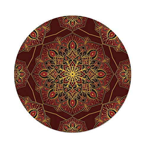 Polyester Round Tablecloth,Maroon,Rich Colorful Ornament Symbol of Cosmos in Arabic Style Medieval Artistic Decorative,Maroon Yellow black,Dining Room Kitchen Picnic Table Cloth Cover,for Outdoor Ind