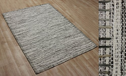 Circular Wool Rugs - Aztocratic Hand Spun Designer Wool Accented Soft Viscose Area Rugs Modern Contemporary Style Beige Color Size-4 Feet x 6 Feet.