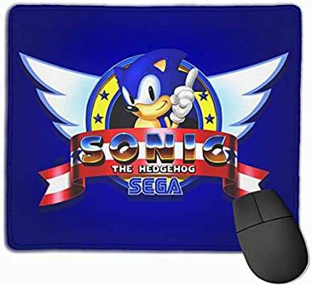 Amazon Com Plon7ucert Sonic The Hedgehog Logo Computer Gaming Mouse Pad With Stitched Edges Anime Mouse Pad Non Slip Rubber Office Mouse Pad 12 0x9 8in Home Kitchen