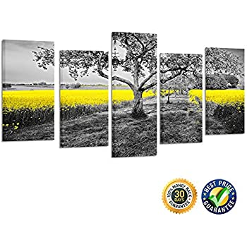 Kreative arts 5 panel canvas wall art yellow oilseed rape fields black and white landscape