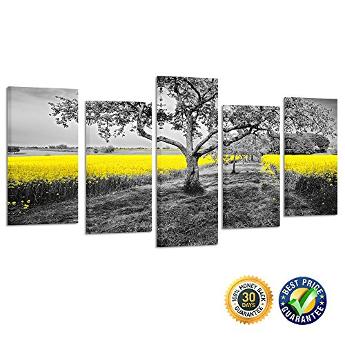 22' Art Print Poster (Kreative Arts - 5 Panel Canvas Wall Art Yellow Oilseed Rape Fields Black and White Landscape Giclee Canvas Prints Artwork Pictures Paintings on Canvas Ready to Hang (Medium Size : L 40'' x H 22''))