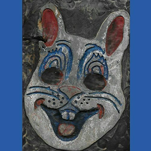 Vintage Halloween Bunny Mask Wood Art, Carved and Painted Wooden Rabbit Wall Hanging, 3-D Relief Sculpture, measures: 7 X 11
