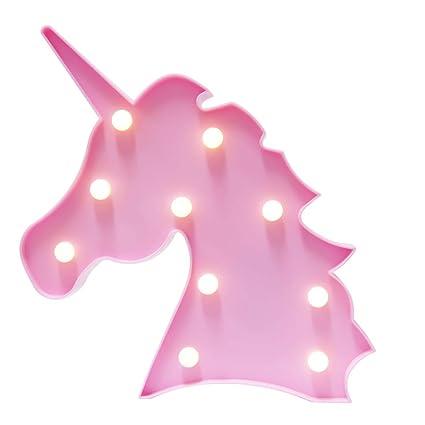 Novelty 3d Unicorn Head Led Night Light Animal Marquee Lamp Wall Table Desk Lamp Children Party Bedroom Decor Kids Creative Gift Lights & Lighting