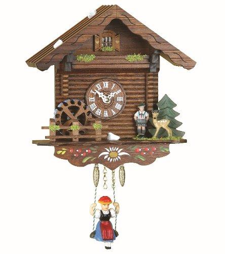 Trenkle Black Forest Clock Swiss House, turning water-wheel
