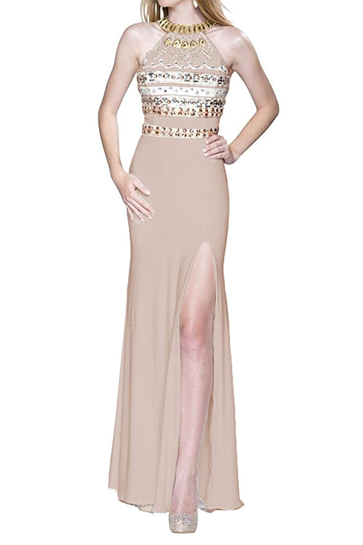 Champagne Promworld Women's Halter Off The Shoulder Evening Dress Crystal Beaded Split Prom Dress Long White