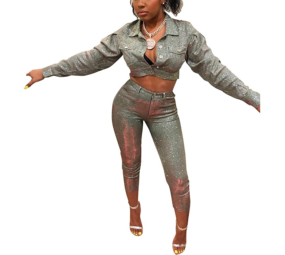 3c0b4695b7 Amazon.com  Ophestin Women 2 Piece Outfits Sparkly Silver Long Sleeve  Jacket Skinny Cropped Pants Set  Clothing