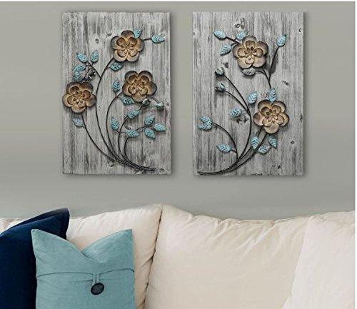 Wall Art Metal Rustic Floral Panel I Wall Decor - metal flower wall art