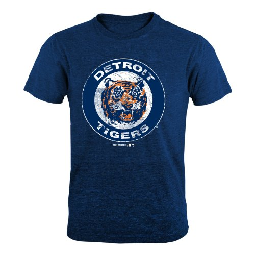 MLB Detroit Tigers Old Skool Tri-Blend Tee (Navy), X-Large