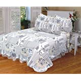Quilt 3 pc Bedding Bed Set / Bedspread with 2 Pillow Sham, Queen (Acetosa Grey)