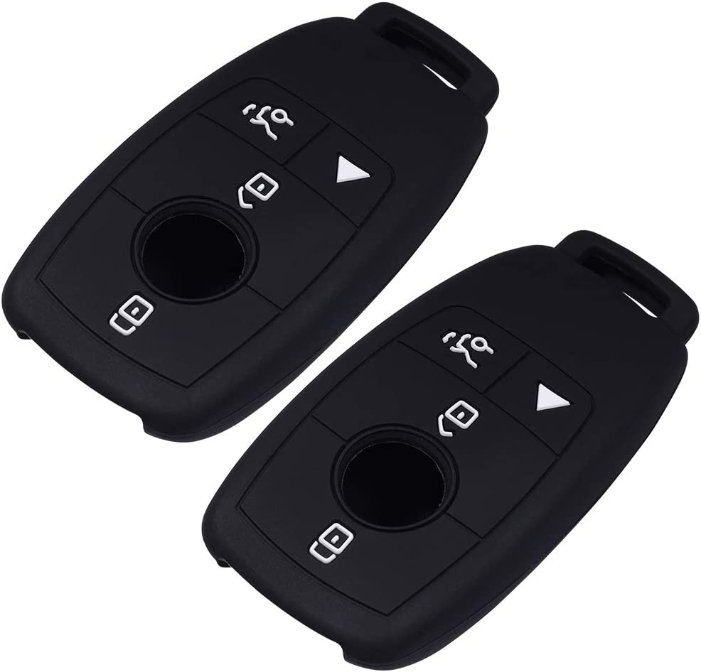 Lcyam Silicone Remote Key Fob Covers Smooth Soft Rubber Case Fits for Mercedes-Benz A220 E63S AMG E-Class GLE 350 4MATIC 2019 2020 Black Blue