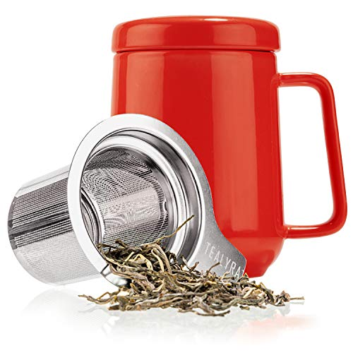 (Tealyra - Peak Ceramic Red Tea Cup Infuser - 19-ounce - Large Tea High-Fired Ceramic Mug with Lid and Stainless Steel Infuser - Tea-For-One Perfect Set for Office and Home Uses - 580 milliliter)