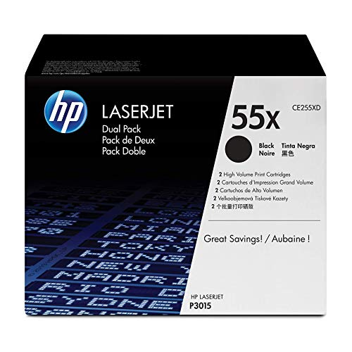 - HP 55X (CE255X) Black Toner Cartridge High Yield, 2 Toner Cartridges (CE255XD) for HP LaserJet Enterprise 525 P3015 HP LaserJet Pro M521
