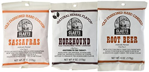 (Claeys Horehound, Sassafras, and Root Beer Set 3 Pack (1 - 6oz Bag of Each))