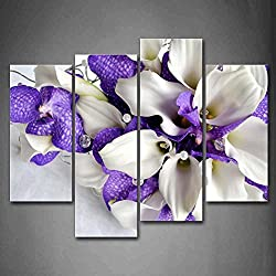 Bunch Of Flowers In White And Dark Purple Wall Art Painting Pictures Print On Canvas Flower The Picture For Home Modern Decoration