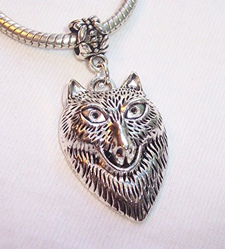 Pendant Jewelry Making Oversized Wolf Zoo Animal Dog Head Dangle Charm for European Bead Slide Bracelet