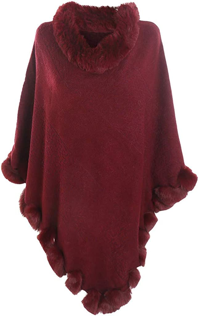 Women's Poncho With Faux...