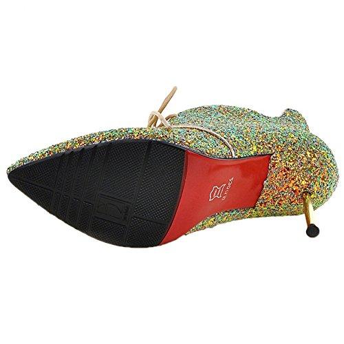 HooH Mujer Botas Tacón alto Pointed Toe Bling Lentejuelas Boda Zapatos de tacón Botines Verde