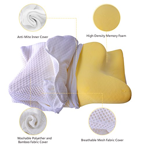 Cervical Pillow Contour Pillow for Neck and Shoulder Pain, Coisum Orthopedic Memory Foam Pillow Ergonomic Bed Pillow for Side Sleepers Back Sleepers, Neck Support Pillow with Hypoallergenic Pillowcase