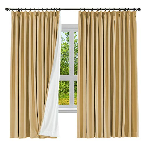 - cololeaf Linen Cotton Curtain Panels Blackout Curtain Solid Pinch Pleated Drape Curtain Bedroom Living Room Kidroom Studio, 52