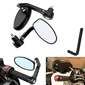 KaTur 7/8 Inch 22MM Mirror Universal Motorcycle Rearview Mirror Aluminum Alloy Round Shaped Motorcycle Handlebar Rear View Mirror for Yamaha Honda Triumph Ducati Suzuki Black
