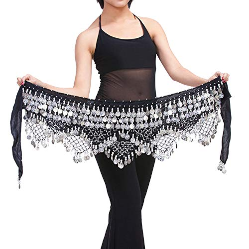 Costume Dance Belly Ideas - Women's Belly Dance Wave Shape Hip Scarf With Silver Coins Costume Skirt Wrap Belt (Black)