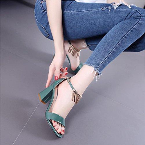dimensioni gli Stati con L'Europa 34 e Uniti Colore metallo in verdi mette Verde Verde nappa i sandali la femminili Eqqa5x