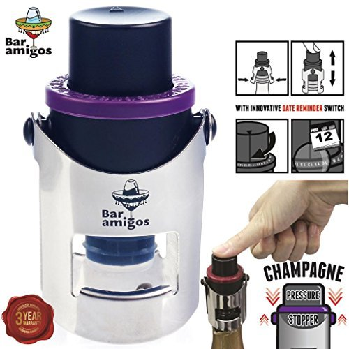 Bar Amigos Champagne Pressure Stopper Purple - Saver Pump Sealer Preserver With Patented Technology And Innovative Date Reminder Switch To Keep Your Bottle Of Sparkling Wine Fresh For 7 (Date Saver)
