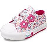 DADAWEN Girl's kid's Fashion Flower Floral Canvas Sneakers with Velcro Strap (Baby girl/Toddler/Little Kid/Big Kid)