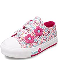 DADAWEN Girl's kid's Fashion Flower Floral Canvas Sneakers (Baby girl/Toddler/Little Kid/Big Kid)