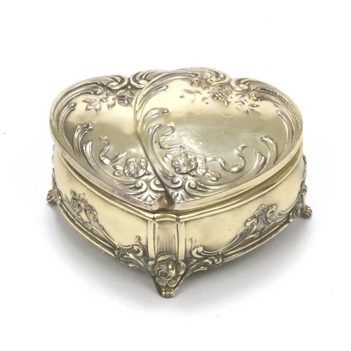 Silverplate Heart Box (Jewelry Box by WED, Silverplate, Twin Hearts)