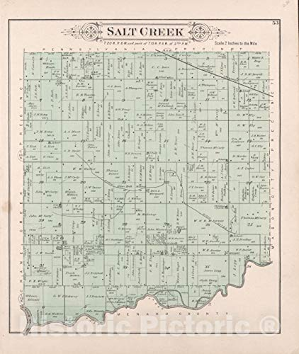 Historic 1891 Map | Plat Book of Mason County, Illinois | Salt Creek 44in x 53in