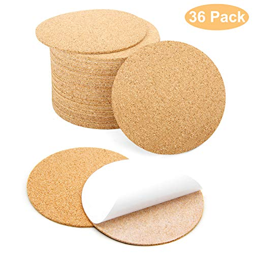 Blisstime 36 Pcs SelfAdhesive Cork Round for DIY Coasters 4quotx 4quot Cork Circle Cork Tiles Cork Mat Cork Sheets with Strong AdhesiveBacked