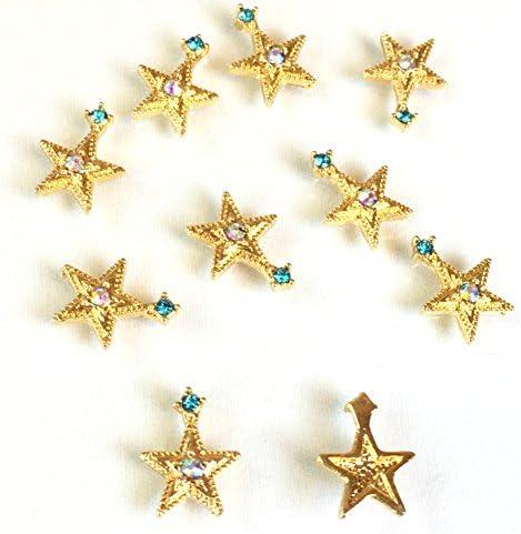 宇宙ビジュー 8個 お星さま 銀河の宝石 オーロラアクアマリン ガラス付ゴールド貼付パーツ レジン封入 アクセサリーパーツ ハンドメイド 手芸材料