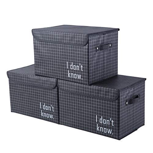 iFlower Fabric Storage Bin Foldable Storage Cube Box Stackable Decorative Container Set with Lid Handles for Nursery Closet Kids Room Toys Baby Products (Black Stripe,3-Pack) -