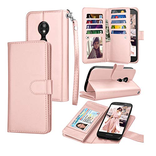 Moto E5 Plus Case, Motorola Moto E5 Supra Wallet Case, Tekcoo Luxury ID Cash Credit Card Slots Holder Purse Carrying PU Leather Folio Flip Cover [Detachable Magnetic Hard Case] & Kickstand - Rose Gold