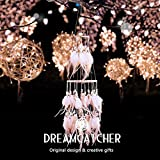 Ingzy LED Fairy Lights Battery Operated Handmade Dream Catcher Feathers Wall Hanging Ornament Craft Gift, Natural Feathers Bedroom Ornament (White)