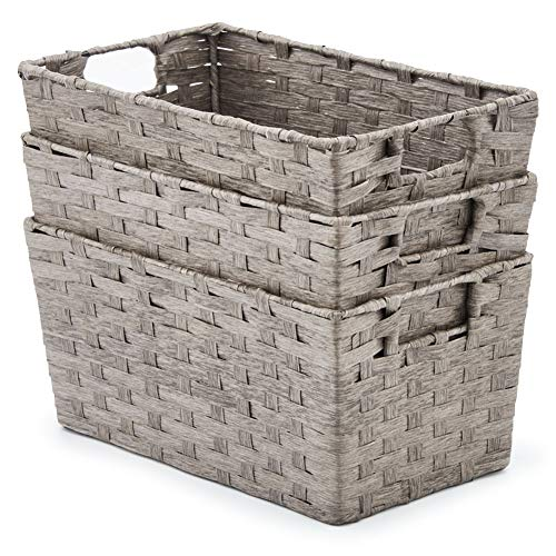 - EZOWare Pack of 3 Paper Rope Woven Storage Baskets, Multipurpose Organizer Bins with Handles Perfect for Storing Small Household Item - Gray