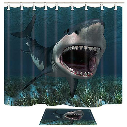 ChuaMi Ocean Shower Curtain Shark Set, Giant Marine Fish and Blue Undersea World Seagrass, Bathroom Decor Design Polyester Fabric 69 x 70 Inches with Hooks and Anti-Slip 40 x 60cm Bath Mat