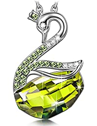 Swan Lake Animal Designed Pendant Necklace Made with Swarovski Crystals - Best Gifts for Her!