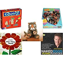 """Children's Gift Bundle - Ages 6-12 [5 Piece] - Quelf Board Game - Girl Talk Just For You Heart Shaped 250 Piece Puzzle - Webkinz Collectible Lil'Kinz Mini Plush Stuffed Animals Tiger 7"""" - The Tiny S"""