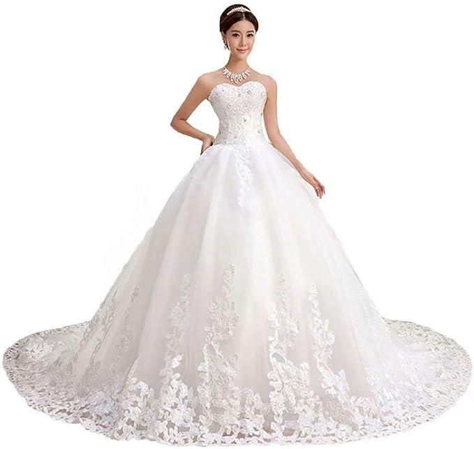Amazon.com: QueenBridal - Vestido de novia de encaje con ...